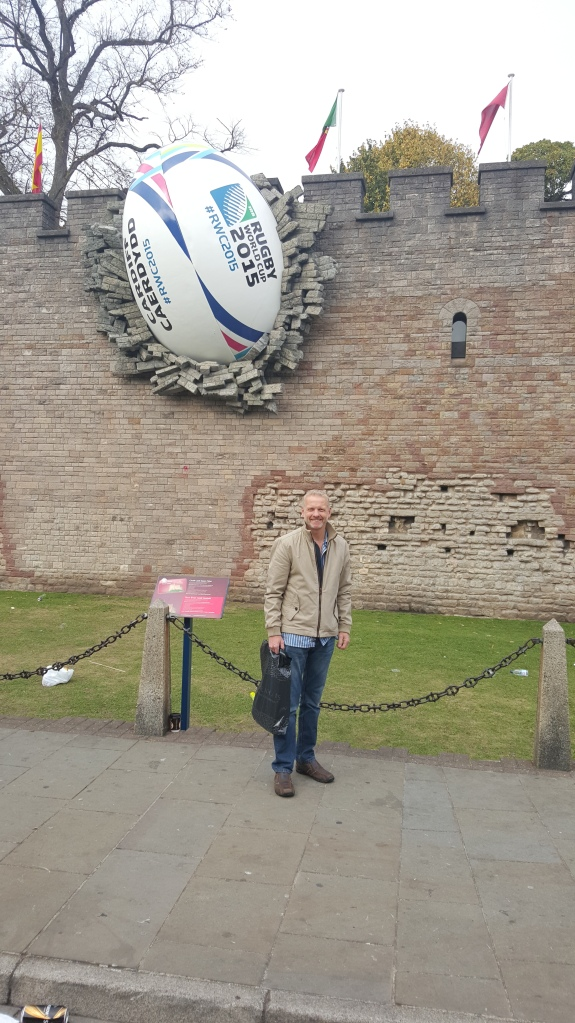 My hubby Richard in front of Cardiff Castle and the ball in the wall!